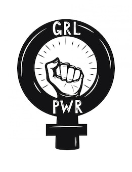 Puño de mujer poder femenino. símbolo femenino