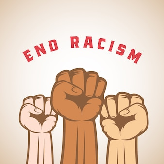 Puños activistas de diferentes colores de piel y lema de acabar con el racismo. resumen anti racista, huelga u otra etiqueta de protesta, emblema o plantilla de tarjeta. aislado.