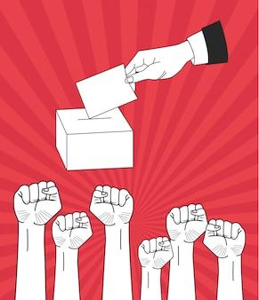 Puños levantados a mano y votando.