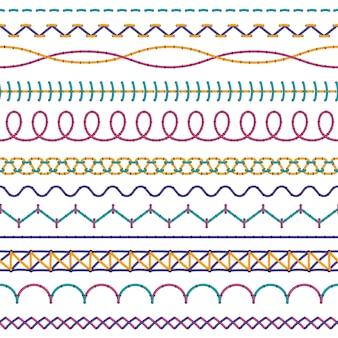 Puntadas de bordado. costura de tela de moda coser bordes coser hilo de zigzag, costura de punto de cruz de color sin costura cosida