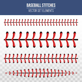 Puntadas deportivas de béisbol, costura de encaje rojo.