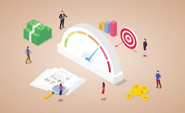 Puntaje de calificación crediticia con medidor financiero con icono de dinero y objetivos con estilo plano isométrico moderno