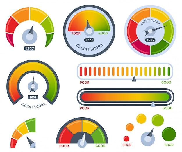 Puntaje de crédito conjunto de medidores bueno o malo