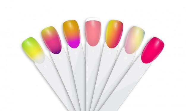 Puntas de esmalte de uñas en diferentes colores.