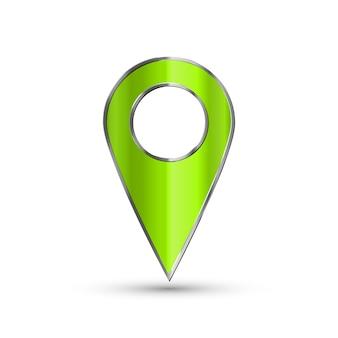 Puntero 3d realista del mapa. icono de marcador de mapa verde