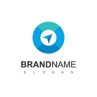 Puntero de dirección para la plantilla de diseño de logotipo de brújula