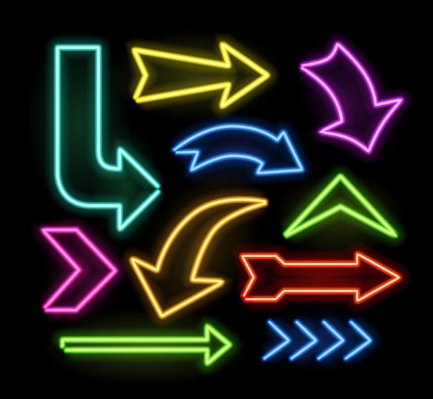 Puntero de flecha brillante de neón en fondo oscuro. colección de letreros de luz retro colorida y brillante.