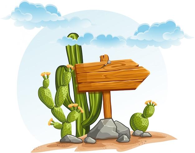 Puntero de madera con cactus en el desierto