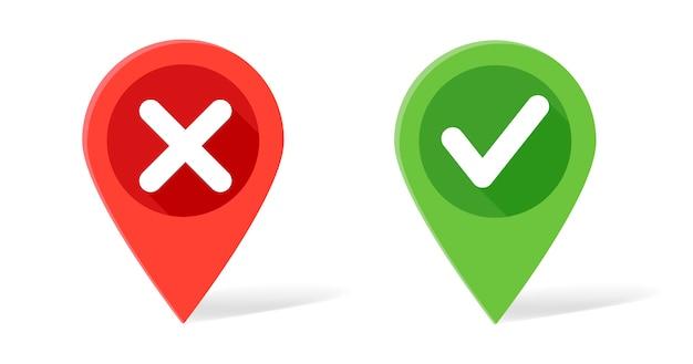 Puntero del mapa en colores rojo y verde con marca de verificación y cruces