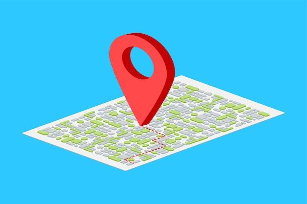 Puntero del mapa isométrico sobre fondo azul.