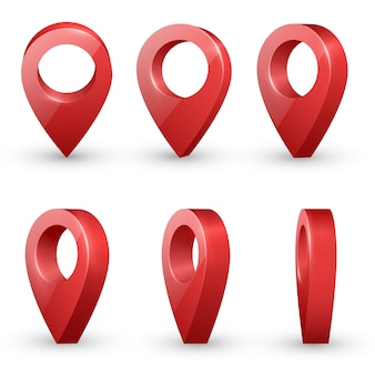 Punteros de mapa realistas rojos