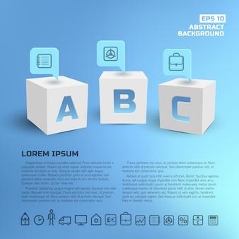 Punteros de negocios en infografías de cubos blancos 3d