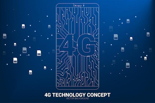 Punto 4g conecte el icono del teléfono móvil con estilo de placa de circuito de línea.