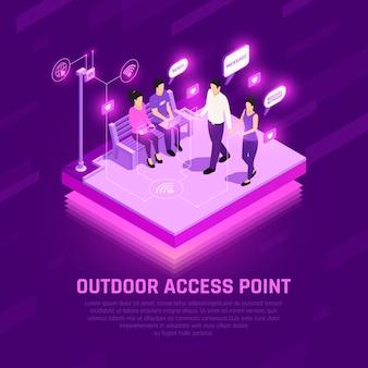 Punto de acceso a internet isométrica composición brillante personajes humanos con dispositivos wifi al aire libre púrpura