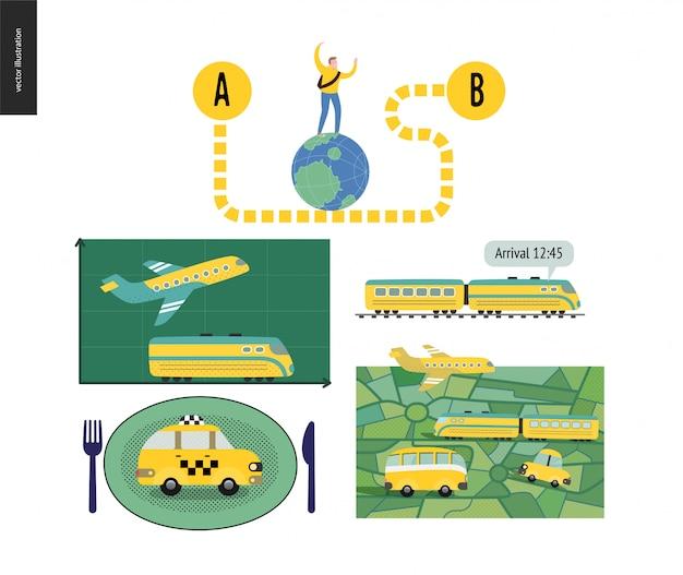 Del punto a al punto b - conjunto de planificación de transporte