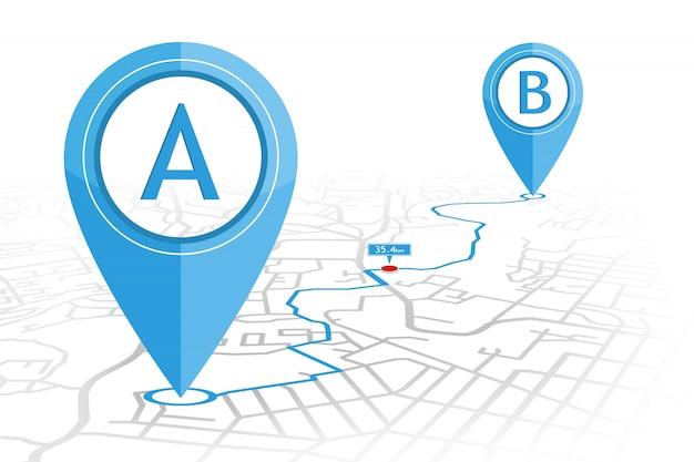 El punto de comprobación de pin del navegador gps al punto b en el mapa de calles con el indicador de distancia
