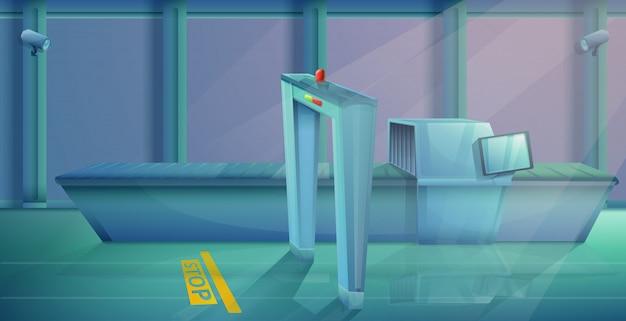 Punto de control del aeropuerto de dibujos animados, ilustración vectorial