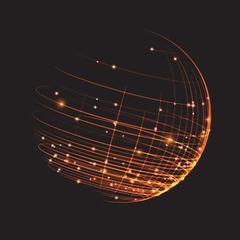 Punto y curva construyen la estructura metálica de la esfera.