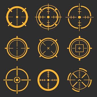 Punto de mira, objetivo objetivo, apuntando a los iconos de la diana.