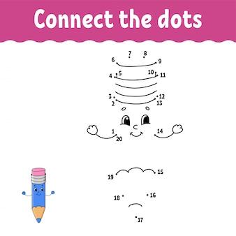 Punto por punto. dibuja una línea. práctica de escritura a mano. aprendizaje de números para niños.