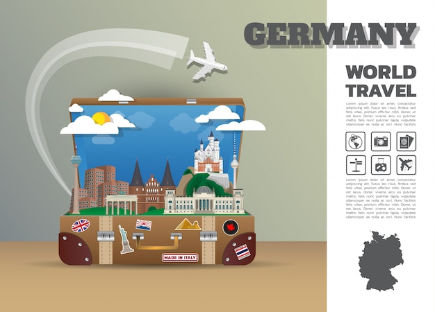 Punto de referencia alemán viajes y viajes globales infografía equipaje.3d diseño