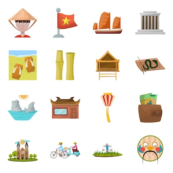 Punto de referencia del conjunto de iconos de dibujos animados de vector de vietnam. vector ilustración aislada cultura nacional de vietnam.