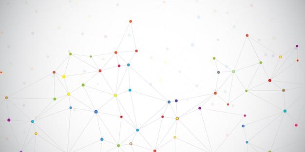 Puntos coloreados conectados en una red
