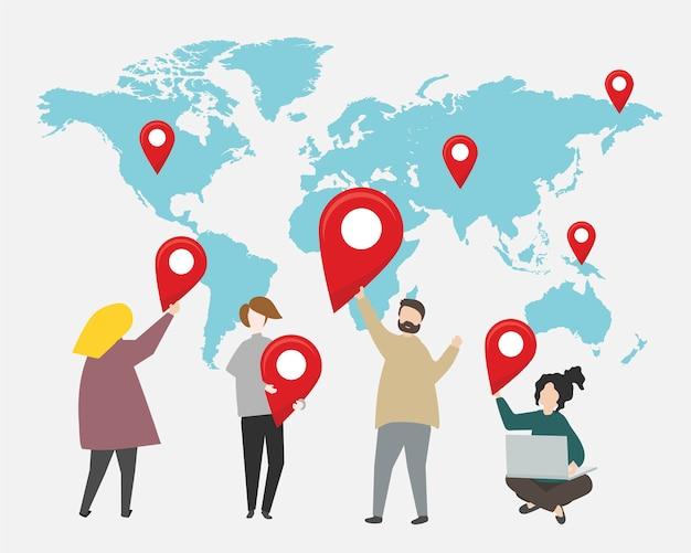 Puntos de control en la ilustración del mapa del mundo