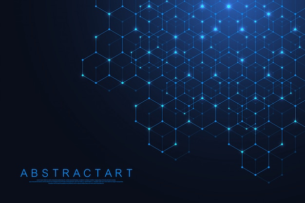 Puntos y líneas abstractas de tecnología conectan el fondo con hexágonos. conexión de hexágonos de datos digitales y concepto de big data. visualización de datos digitales hexadecimales. .