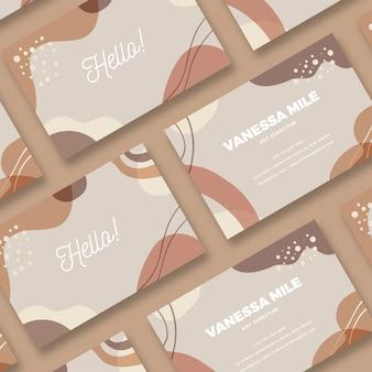 Puntos y manchas de color pastel en la tarjeta de visita