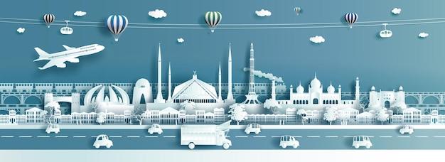 Puntos de referencia de destino de viaje pakistán con globos de teleférico de camión y avión en estilo de corte de papel