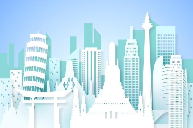 Puntos de referencia de skyline en papel
