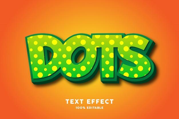 Puntos verdes fuerte efecto de texto en negrita, texto editable