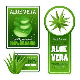 Pura verde natural orgánica aloe vera deja banderas de etiqueta de tratamiento saludable con texto