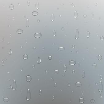 Puras gotas de lluvia de agua clara.