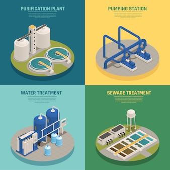 Purificación de aguas residuales composición isométrica cuadrado