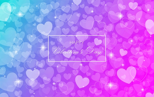 Púrpura y azul borrosa feliz día de san valentín con fondo de corazón bokeh.