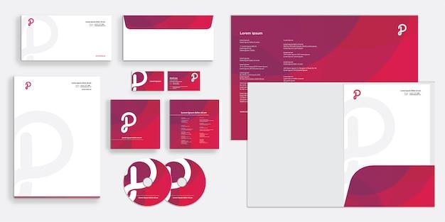 Púrpura elegante identidad comercial corporativa moderna estacionaria