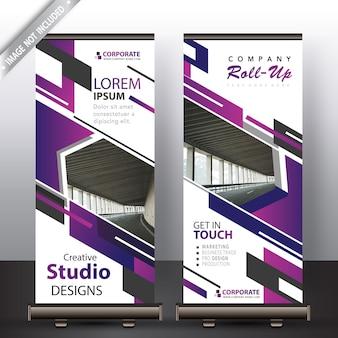 Púrpura enrollar banner para comercial