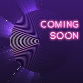 Púrpura próximamente vector de icono de neón