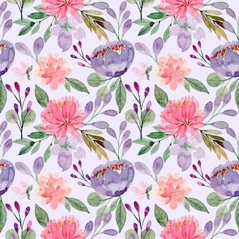 Púrpura rosa floral acuarela de patrones sin fisuras