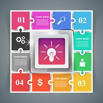 Puzzle logo infografías de negocios.