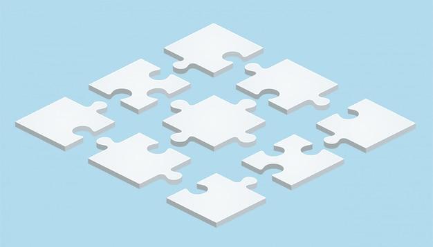 Puzzle plano en diseño isométrico sobre fondo azul