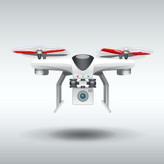 Quadrocopter blanco drone.