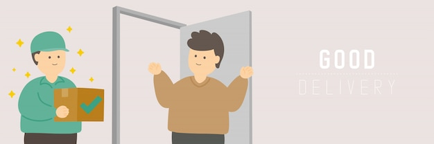 Quarantine man, las compras en línea con buena entrega mantienen la distancia a la protección brote de covid-19, distancia social concepto de estadía en el hogar