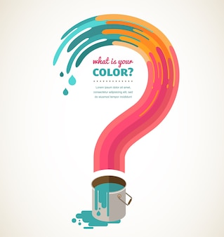 De qué color te encanta: signo de interrogación, salpicadura de color, concepto creativo