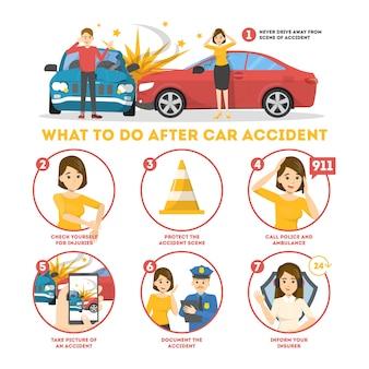 Qué hacer después de un banner infográfico de accidente automovilístico.