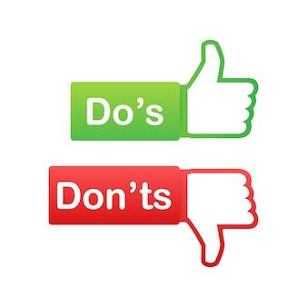 Qué hacer y qué no hacer como pulgares arriba o abajo. plano simple pulgar arriba símbolo conjunto de elementos de logotipo redondo mínimo aislado en blanco.