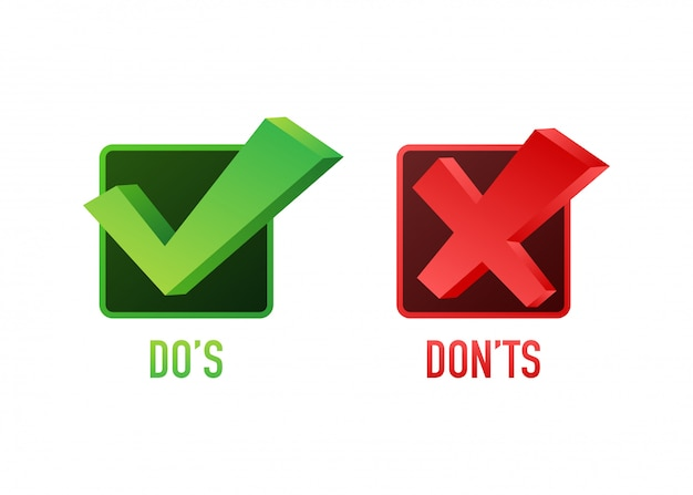 Qué hacer y qué no hacer como pulgares arriba o abajo. plano simple pulgar arriba símbolo mínimo redondo logotipo conjunto de elementos de diseño gráfico aislado en blanco. ilustración de stock