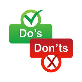Qué hacer y qué no hacer insignia roja y verde.